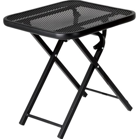 small folding table kmart black metal steel garden oasis wrought iron limited