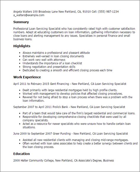 Loan Documentation Specialist Resume by Professional Loan Servicing Specialist Templates To