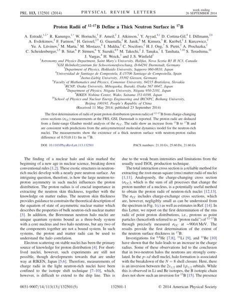 Define Proton by Proton Radii Of B 12 17 Define A Thick Neutron Surface