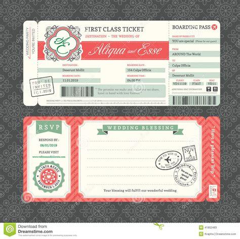 vintage boarding pass wedding invitation template stock