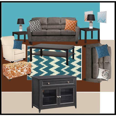 Orange, Teal, Grey Living Room   Polyvore