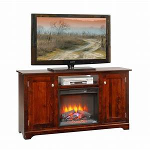 61quot TV Stand With Fireplace Amish 61quot TV Stand With
