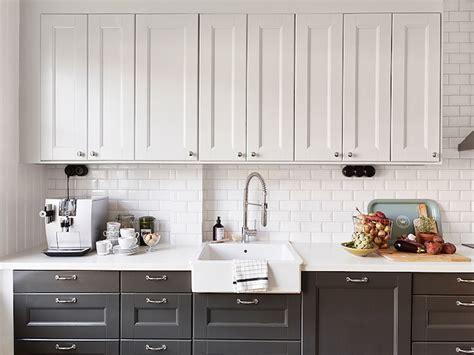 white upper cabinets grey lower white upper cabinets dark lower cabinets transitional 262 | 418cf8ee84c5
