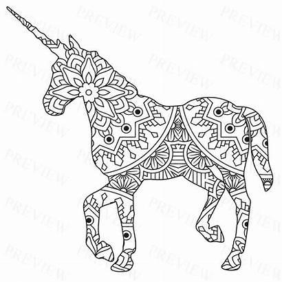Mandala Unicorn Coloring Commercial License