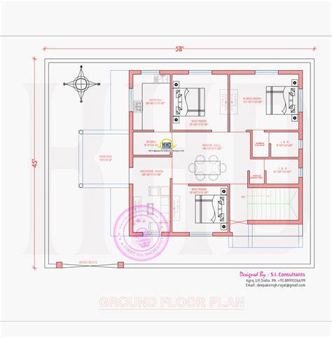 ground floor plan 3d view and floor plan home kerala plans