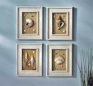 Seashell wall decor bathroom decor ideasdecor ideas for What kind of paint to use on kitchen cabinets for make my own wall art