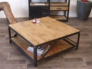 Table Basse Bois Metal : table basse bois et m tal micheli design ~ Teatrodelosmanantiales.com Idées de Décoration