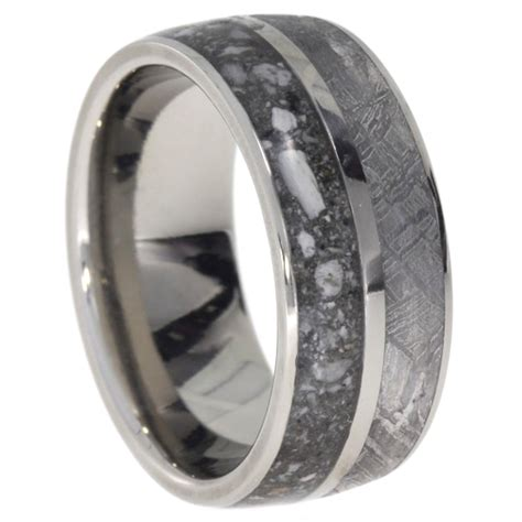 pet memory ring titanium ring with ashes and meteorite