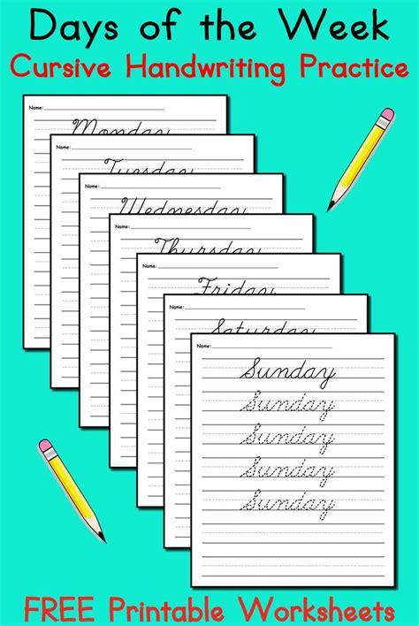 7 free cursive handwriting worksheets days of the week