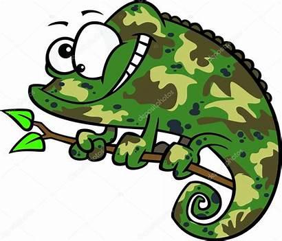 Camouflage Clipart Cartoon Animal Kameleon Dibujos Groene