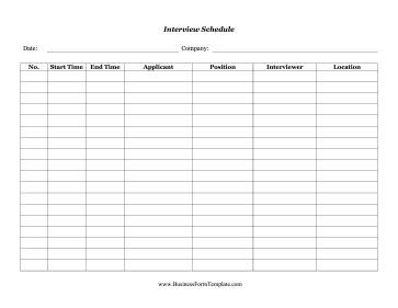 interview schedule schedule template