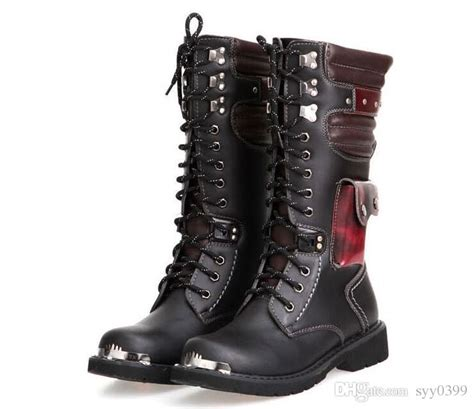Leather Military Boots For Men Combat Punk Rock Man Knee