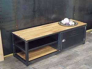 meuble bois industriel amazing meuble industriel bois et With good meuble de cuisine ilot central 14 table basse bois massif scandinave made in meubles
