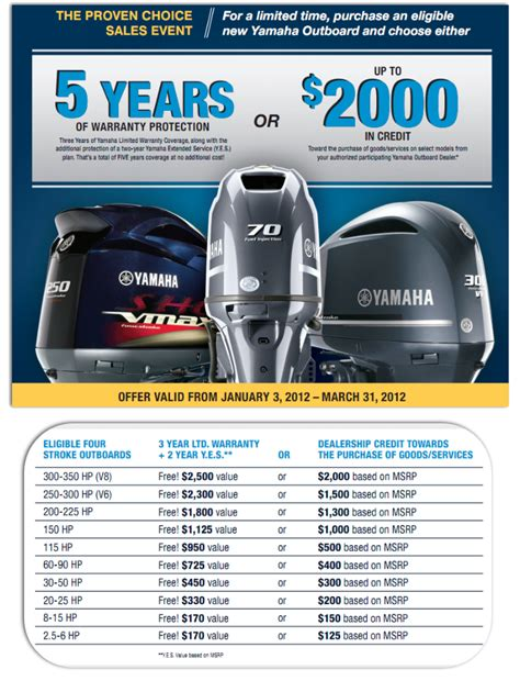 Yamaha Boats Extended Warranty by Special Offer Sales Event Free Two Year Yamaha