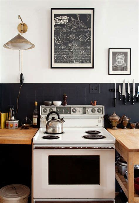 shabby chic black  white kitchen homedesignboard