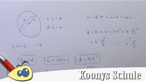 formeln beim kreis umfang und flaecheninhalt radius und