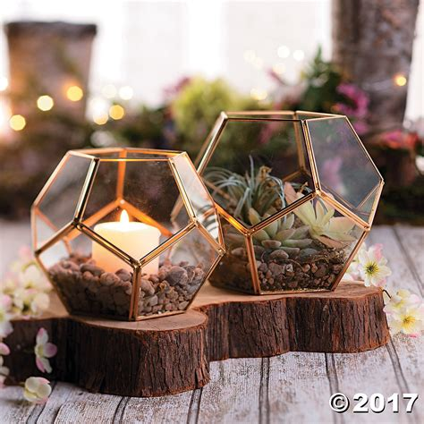 gold geometric terrarium candle holders  pk party