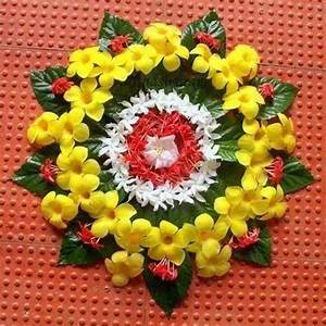 Simple Floral Rangoli Designs Or Pookalam Threads