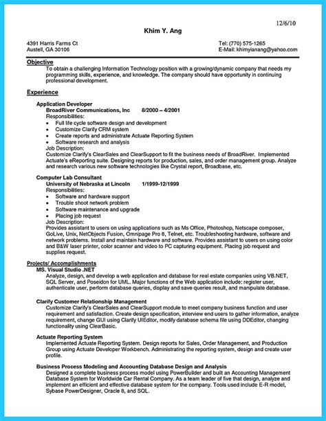 sle of resume for customer service at a call center