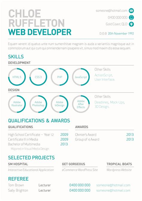 Web Developer Resume Designs by Web Developer S Resume With Mini Info Graphs By