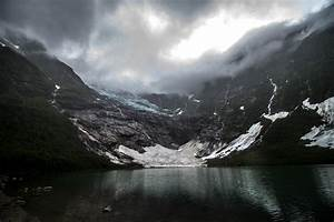 Wallpaper, Landscape, Mountains, Dark, Lake, Water, Nature, Reflection, Snow, Clouds, Glaciers