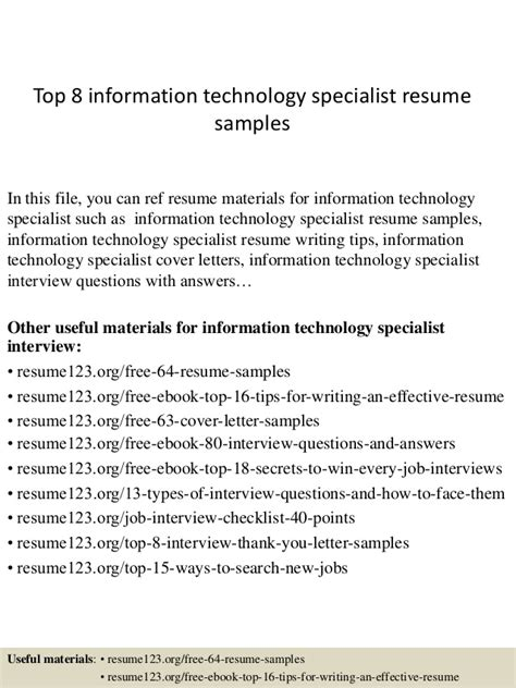 top 8 information technology specialist resume sles
