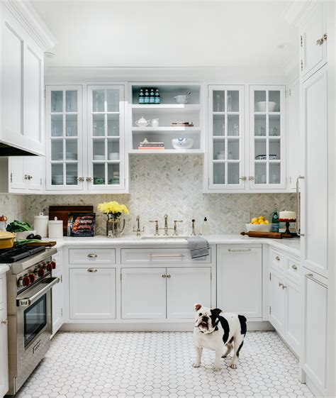 Large White Kitchen Floor Tiles by U Shaped Kitchen With White Hexagon Floor Tiles