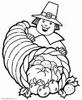 Coloring Pages Cornucopia Printable Thanksgiving Popular sketch template