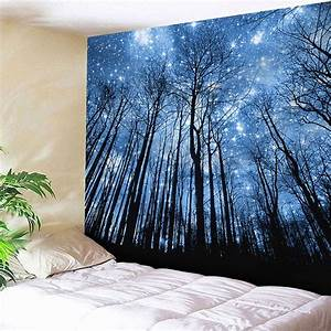 Wall hanging forest pattern tapestry blue w inch l