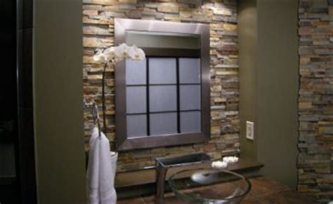 stacked stone accent wall