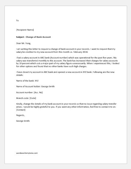 change  bank account letter  manager word excel