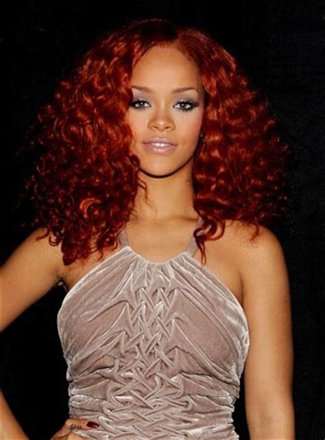 rihanna s red curly hairstyle h a i r pinterest