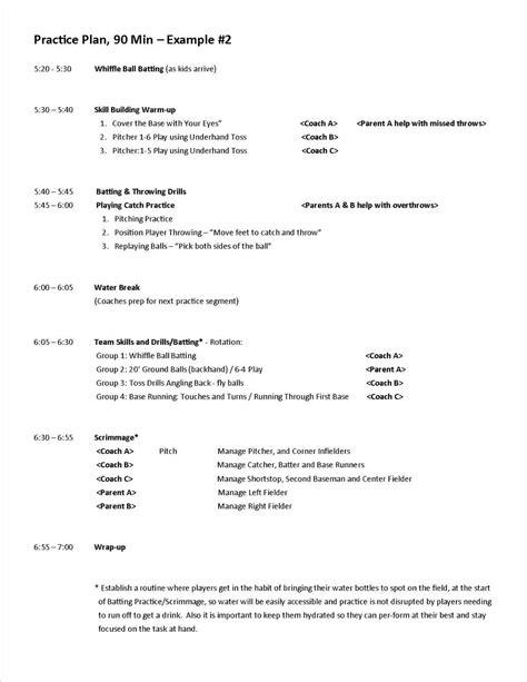 practice plan template practice plans baseball positive