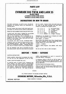 1957 Evinrude Outboard Big Twin  U0026 Lark 35 Parts Manual