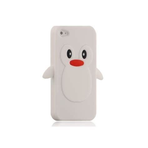 housse silicone blanche pingouin iphone 4 4s expert en
