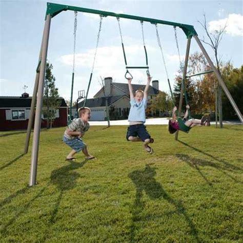 lifetime 290038 heavy duty a frame metal swing set earthtone toys outdoor play equipment