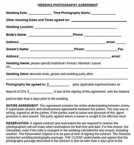 simple photography contract template download With wedding photography contract meal clause
