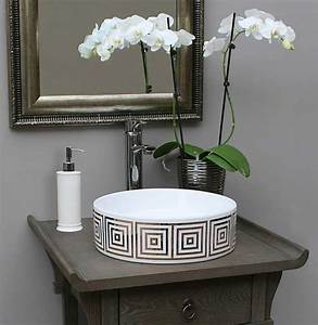 Gold Big Squares Hand Painted Sink in Gray Bathroom