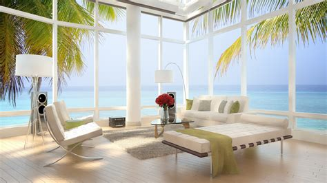 Modern Interiors 4k Hd Wallpapers Sea View Simple Living