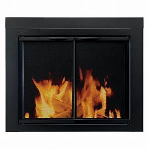 Pleasant, Hearth, Alpine, Cabinet, Fireplace, Screen, And, Glass, Doors, -, Black