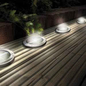 Outdoor led lighting for patios : Stainless steel solar led light deck ground lights a set