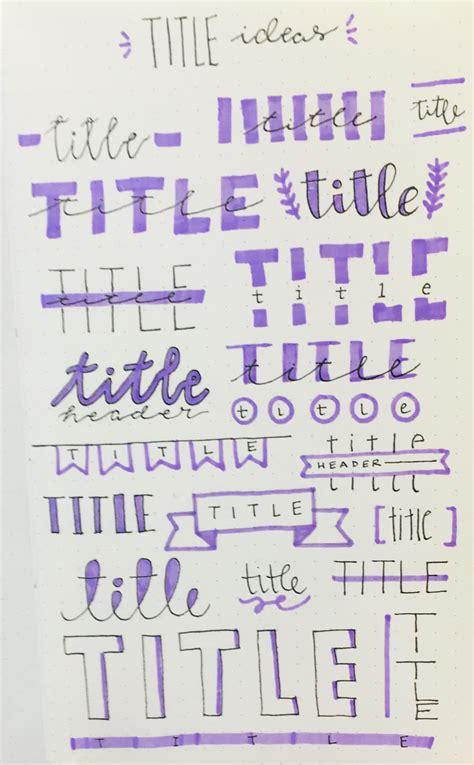 title lettering ideas bullet journal titles lettering