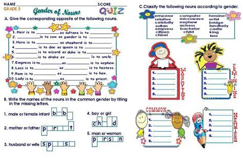 grammar worksheets grade  gender  nouns