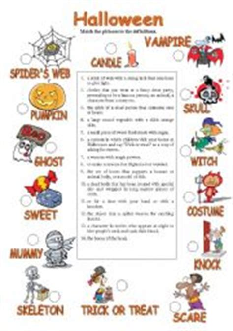 Halloween Worksheets Intermediate Students  English Teaching Worksheets Halloweenhalloween
