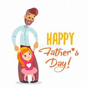 Happy Father's Day Card With Illustration Of Dad And ...