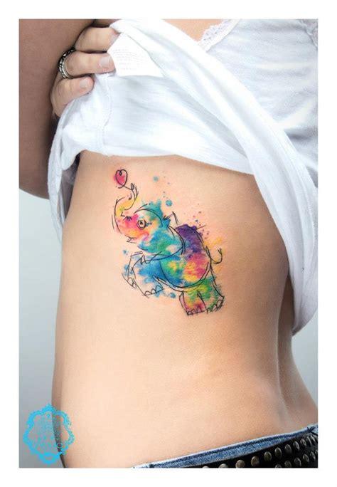tatuaje de elefantito de colores tatuajesxd