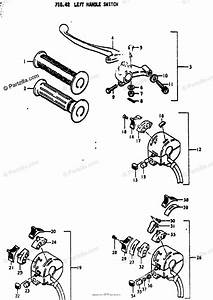 Suzuki Motorcycle 1974 Oem Parts Diagram For Left Handle