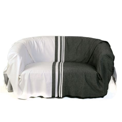 jetee canape jeté pour canapé format rectangulaire noir et blanc 100