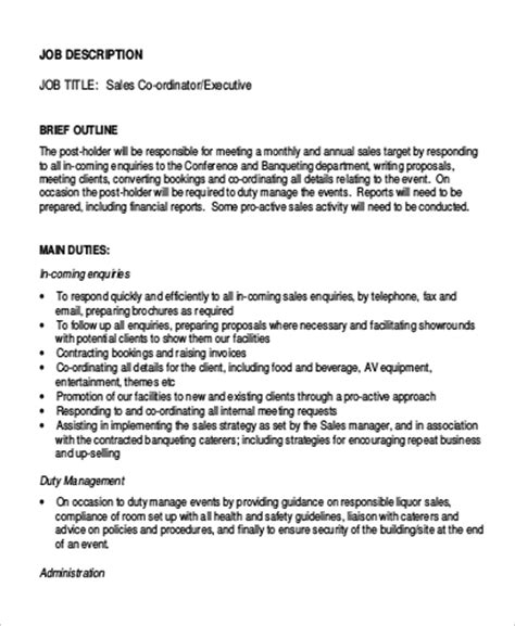sle sales coordinator description 9 exles in