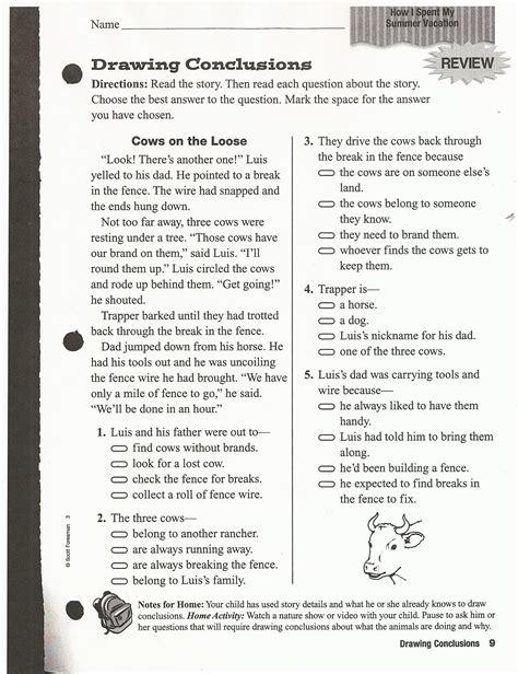 lovely printable reading comprehension test downloadtarget